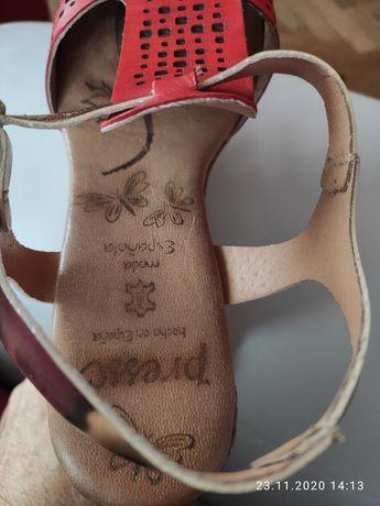 Sandały, koturn, skóra naturalna