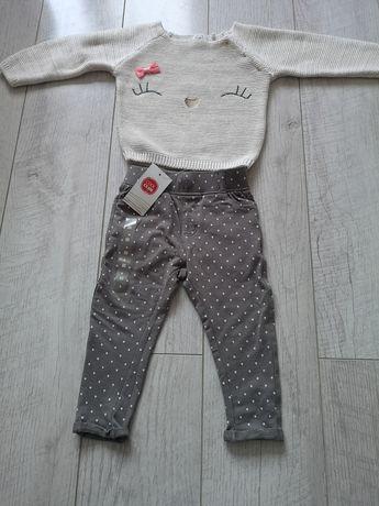 Nowy komplet sweterek z spodniami rozmiar 80 Cool Club