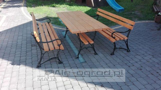 Meble ogrodowe XL stół 2 ławki żeliwne z podłokietnikiem biesiadne