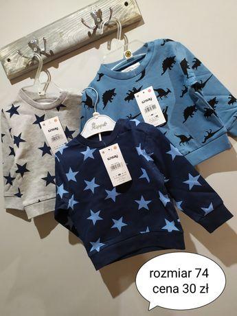 Nowy zestaw trzy bluzy dla chłopca rozmiar 74 bawełna