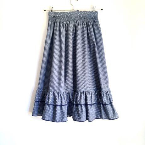70s 80s vintage cottagecore retro spódnica midi falbanki niebieska S M