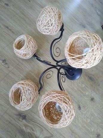 Lampa sufitowa żyrandol naturalna rattan