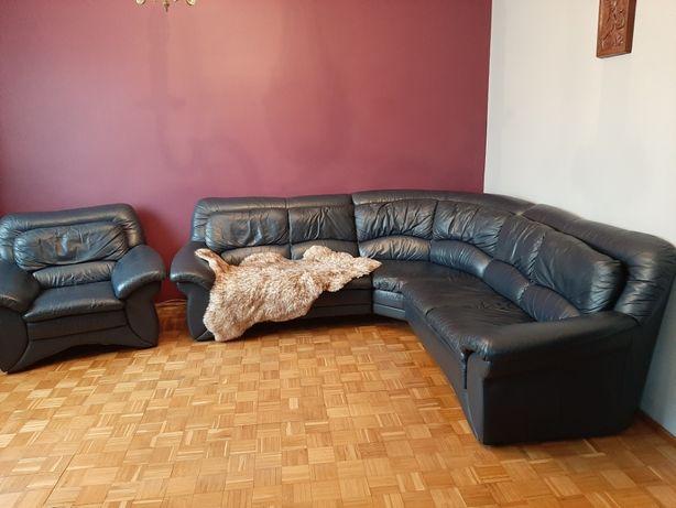 Komplet narożnik + fotel ze skóry, używany