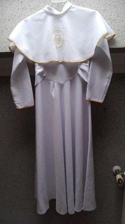 Biała sukienka na komunię alba złote wstawki 122-128cm. TANIO!