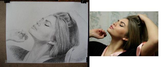 Красивый портрет девушки карандашом 30/40см