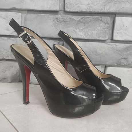 Buty czarne sandały czerwona podeszwa sexy