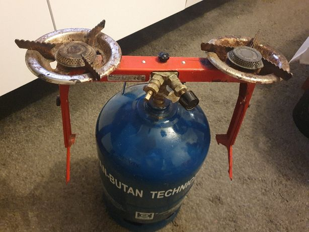 Butla gazowa 5 kg z kuchenką turystyczną dwupalnikową regulowana nóżka