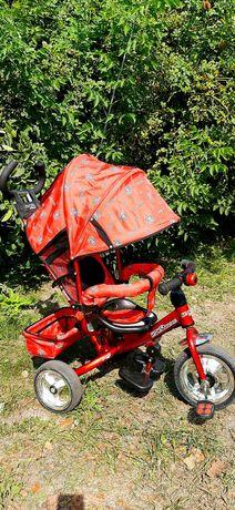 Детский трехколесный велосипед с родительской ручкой