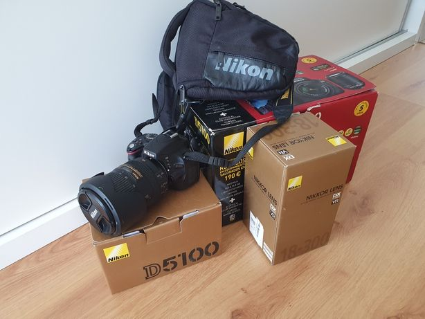 Nikon 5100 + objectiva Nikon 18-300mm + bolsa