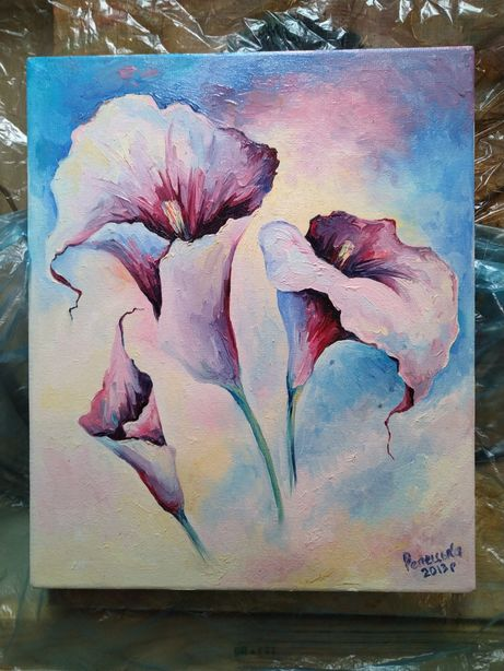 Небольшая картина маслом на холсте цветы калы