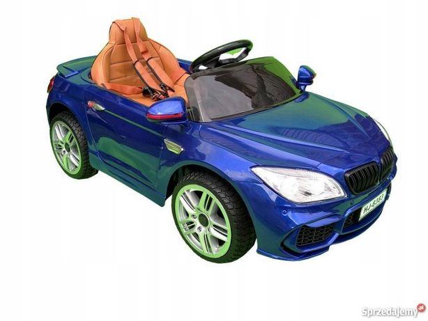 CABRIO B4 Auto na akumulator Gumowe koła Skóra 12V NIEBIESKI