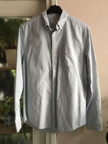Bawełniana koszula w paski Next regular fit, biało-niebieska S