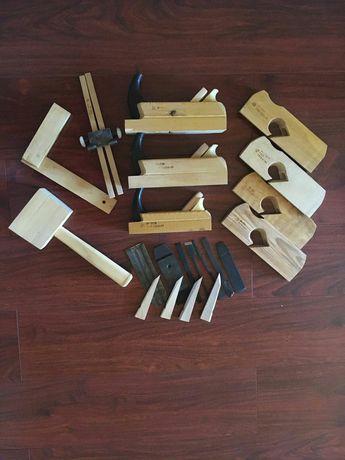 Большой набор деревянных рубанков ручные новые молоток угольник