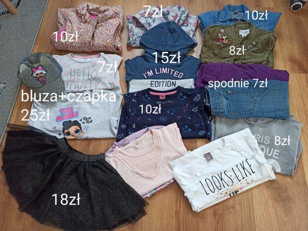Zestaw ciuszków 110-116 bluzy, spodnie, koszulki