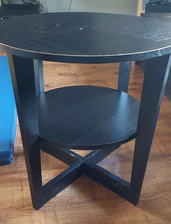 Stolik kawowy venge 2 blaty okrągły IKEA średnica 60 cm wysokość 60 cm