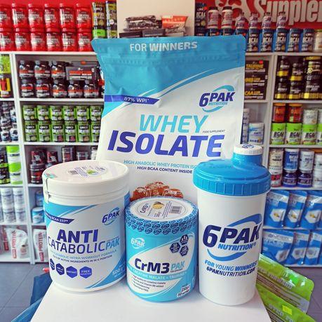 6PAK Zestaw Odżywek Izolat białka 1,8kg Aminokwasy 500g, Kreatyna 250g