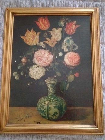 Estampa com vaso garrafa e flores