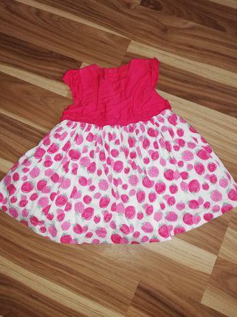 Sukienka letnia czerwona w truskawki 68-74