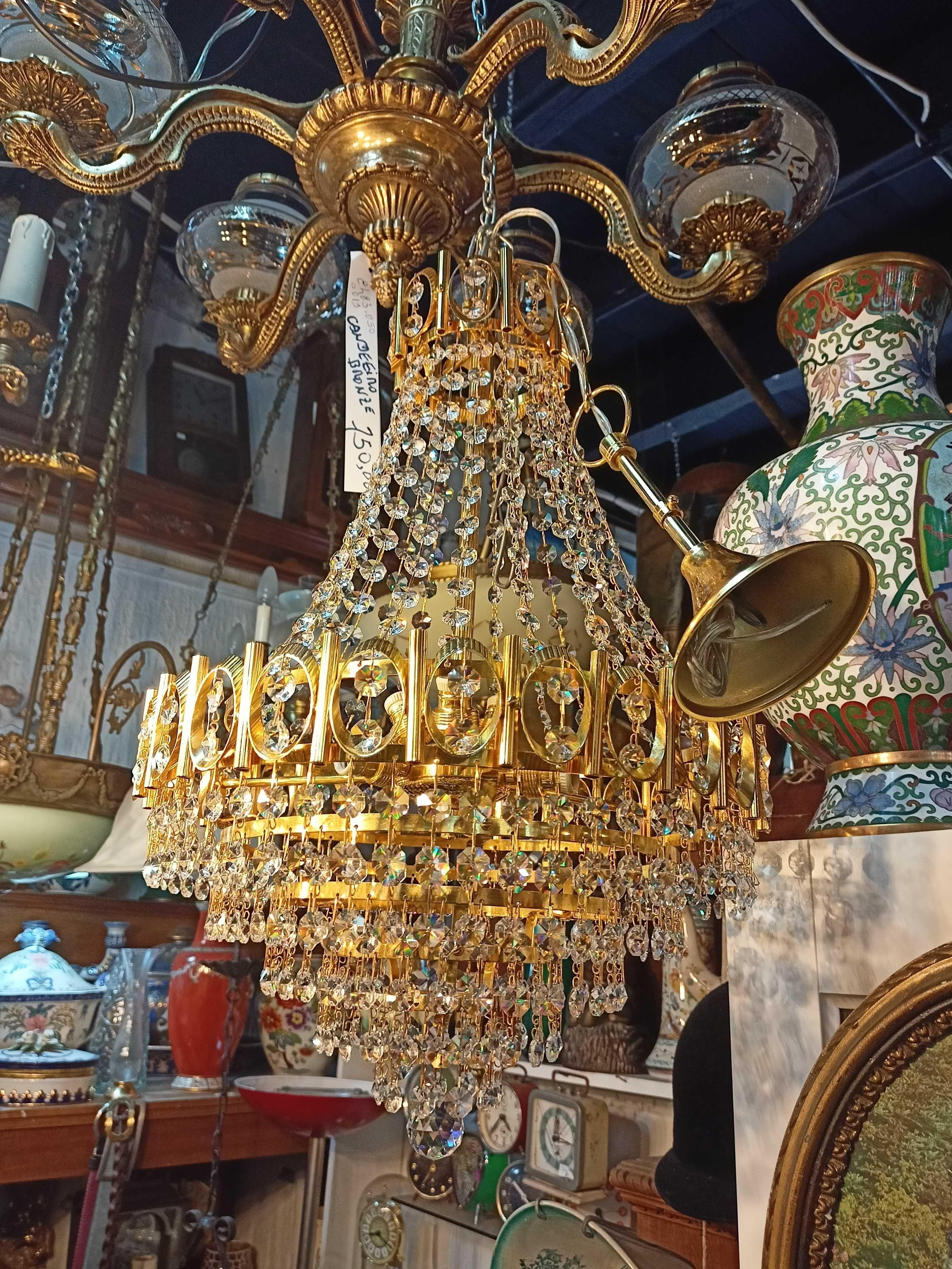 Lustre Dourado Banho Ouro Cristal 6 Lâmpadas