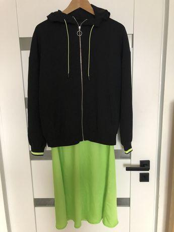 Zestaw bluza kurtka satynowa spodnica