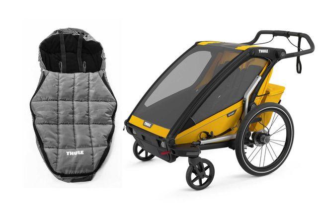 od ręki przyczepka rowerowa Thule Chariot Sport 2 ze śpiworkiem
