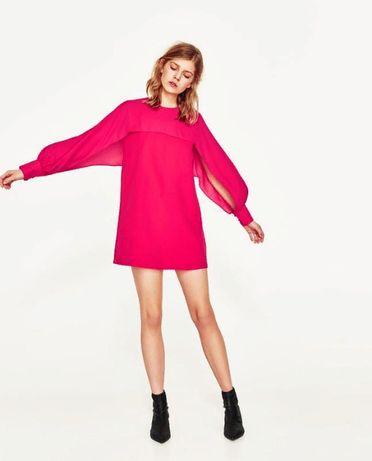 Платье Zara розовое малиновое короткое M летнее