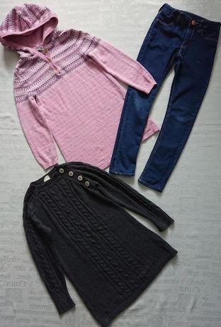 модные трикотажные кофты/туники + практичные джинсы H&M, р.6-7л