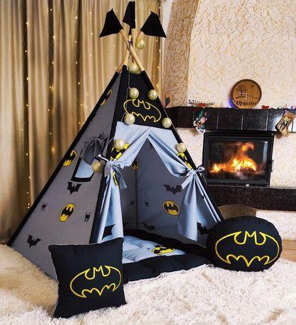 Вигвам домик палатка для мальчика Бэтмен на мягком коврике