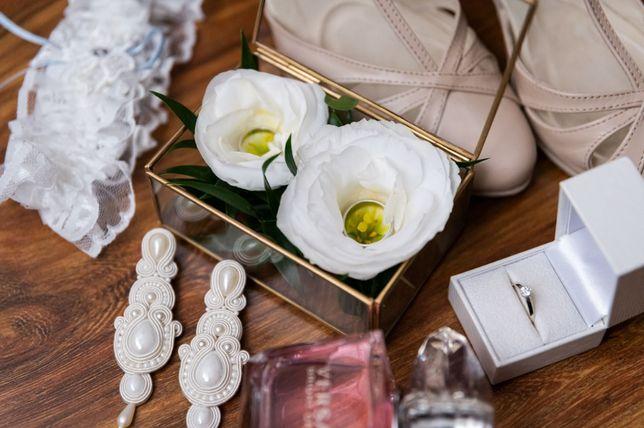 Zestaw: Złote szkatułki na obrączki/ biżuterię