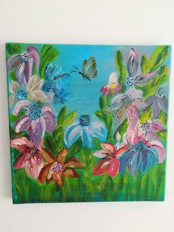 """obraz ręcznie malowany na płótnie """"Kwiaty na łące"""""""