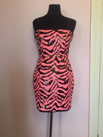 Розовое с золотым и черным блестящее мини платье в пайетки, 34/XS/42 3