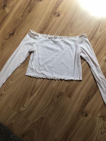 Bluzka biała z odkrytymi ramionami H&M L