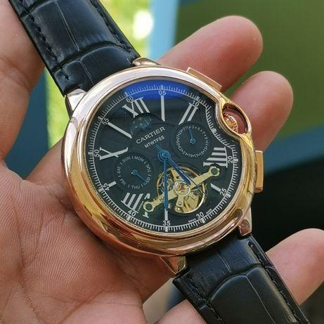 Zegarek nowy, Cartier, automatyczny, skórzany pasek rewelacyjna jakość