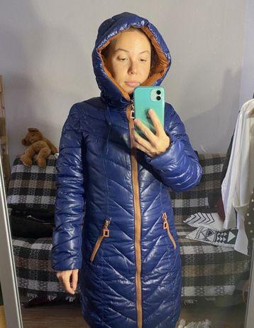 Удлиненная куртка. Бу. Очень тёплая. Не продуваемая