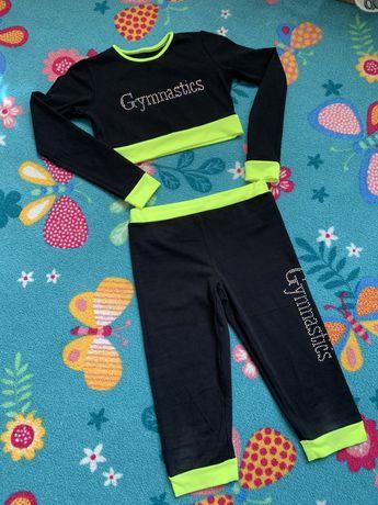 Комплект для гимнастики 140-152, бриджы, топ с длин. рукавом, гімнаст.