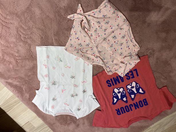 Piękne bluzeczki z krótkim rękawem dla dziewczynki - roz. 110
