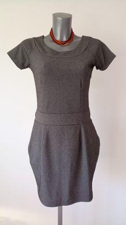 Szara, grafitowa sukienka wizytowa. Chillin, rozmiar M, kostium.
