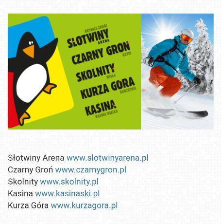 Karnet voucher skipass Kasina, Słotwiny, Skolnity, Czarny Groń, Kurza