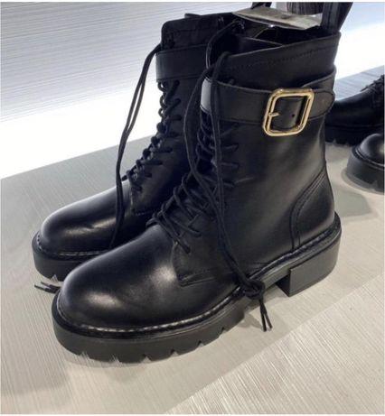 Ботинки Zara натуральная кожа!