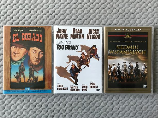 """El Dorado"", ""Rio Bravo"", ""Siedmiu wspaniałych"" - 3 westerny DVD"