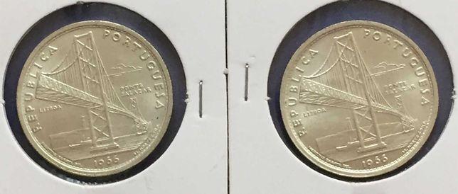 Lote 2 moedas 20 Escudos 1966 - Ponte Salazar - prata