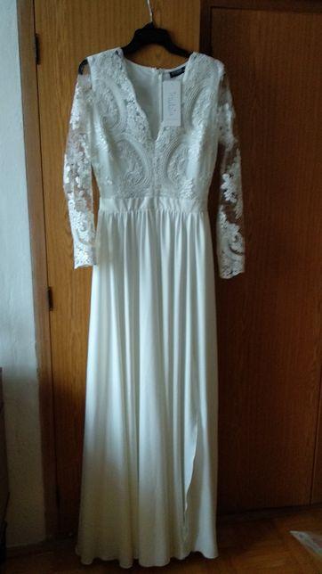 Biala ecru suknia koronkowa wesele