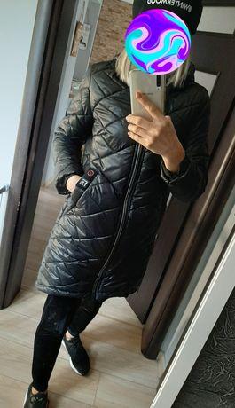 Kurtka płaszczyk s jak nowa czarna pikowana dluga lekka mega cena