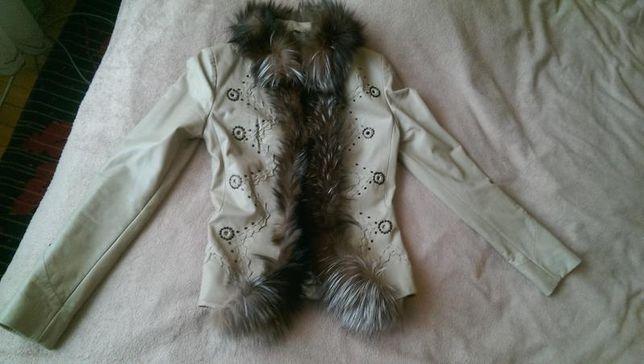 Оригінальний шкіряний піджак із натуральним хутром Silvano, розмір М.,