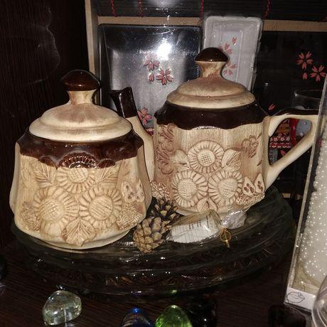 Керамический набор для чаепития заварник/чайник и сахарница