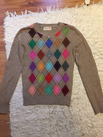 Sweter kaszmirowy, 100% cashmere 34 xs romby Pringle of Scotland