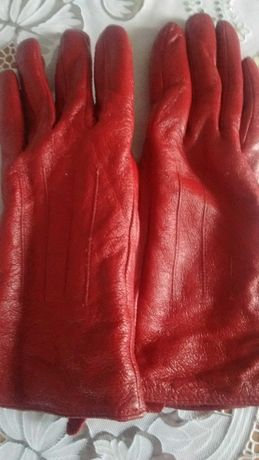Rękawiczki damskie skórzane czerwone