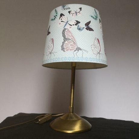 Lampa lampka z abażurem mosiężna masywna.