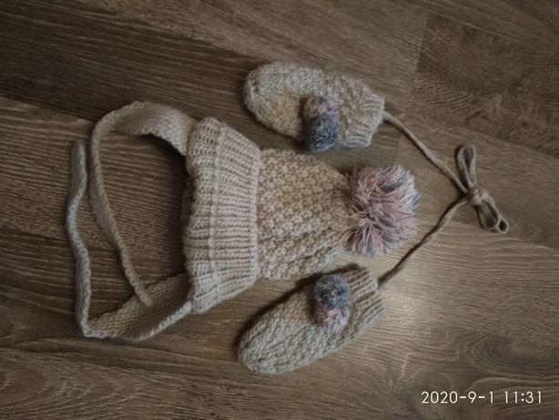 Komplet czapka zimowa+ rękawiczki