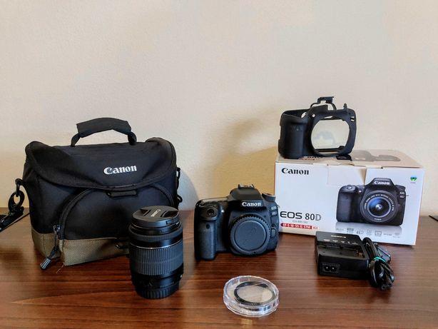 Canon 80D como NOVA + Garantia (+ acessórios)